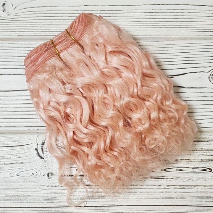 Купить Трессы козочка кудрявые цв.нежно-розовый 1метр для кукол в Москве